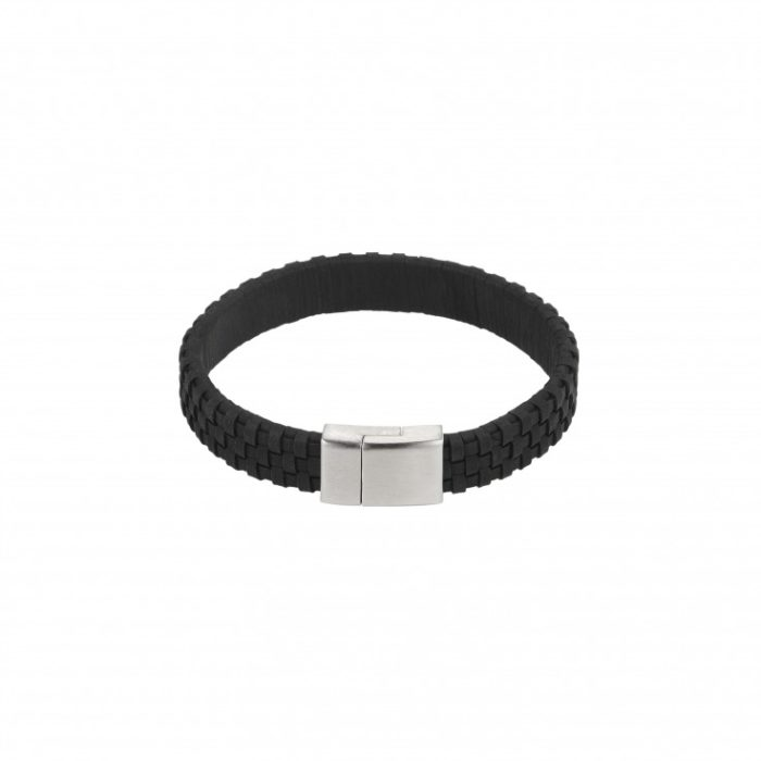zwart leder gevlochten roestvrij stalen armband ifmheemstede