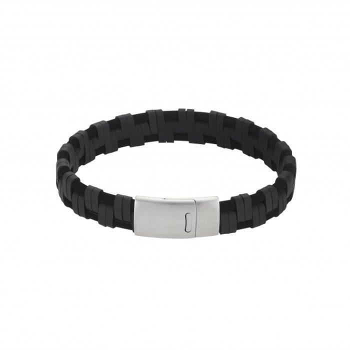 zwart gevlochten lederen armband _ifmHeemstede