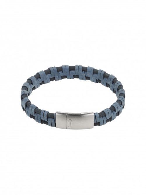 Gevlochten blauwe lederen armband roestvrij stalen sluiting iFmHeemstede
