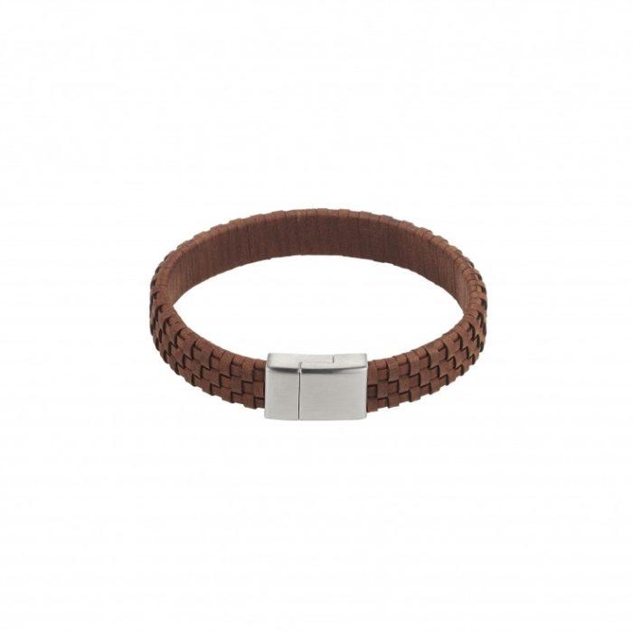 Bruin gevlochten lederen armband met roestvrijstalen sluiting iFmHeemstede