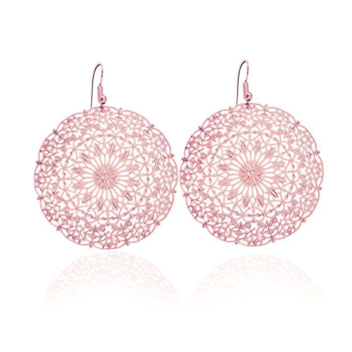 Kant cirkelvormig (groot) rosé haakjes oorbellen iFmHeemstede