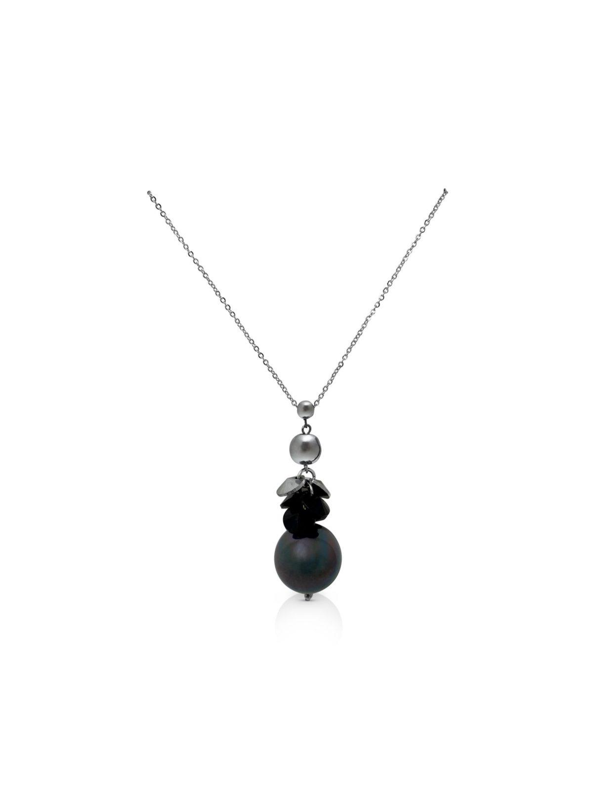 Perle zwarte schelpparel met zilver bolletje ketting iFmHeemstede