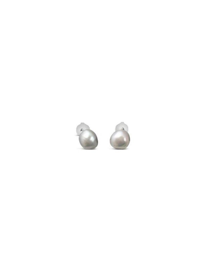 Keshi grijze parel zilveren knopjes oorbellen iFmHeemstede