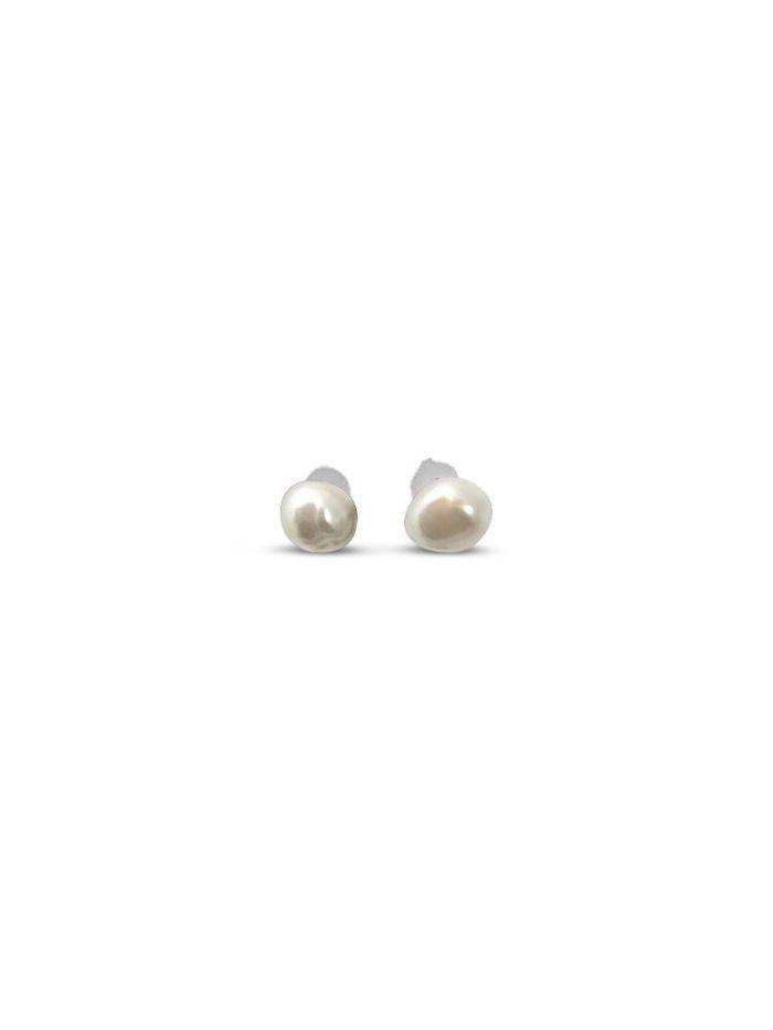 Keshi parel wit, zilveren oorknopjes iFmHeemstede